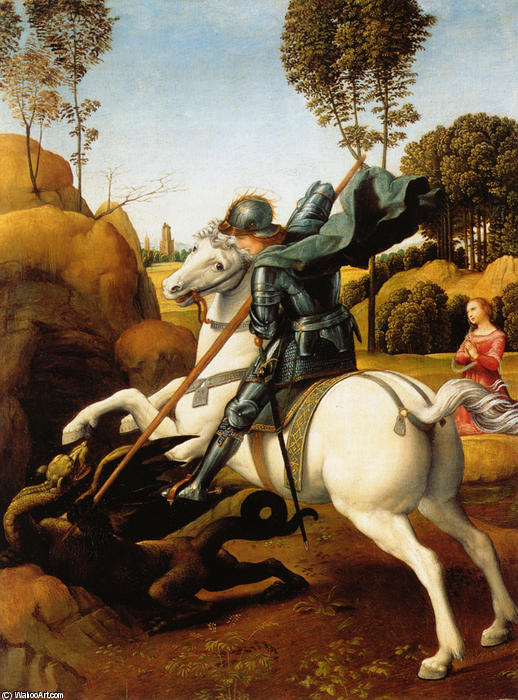 famous painting St. George and the Dragon of Raphael (Raffaello Sanzio Da Urbino)