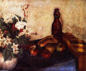 Alfred Henry Maurer - Still LIfe of Flowers in a Bowl, Fruit and a Glass Bottle