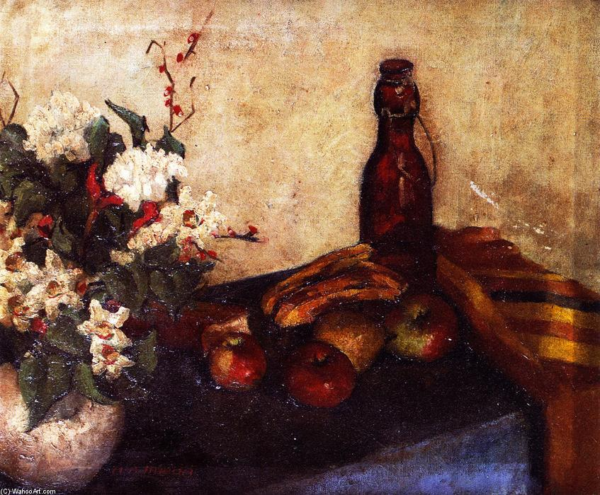 famous painting Still LIfe of Flowers in a Bowl, Fruit and a Glass Bottle of Alfred Henry Maurer