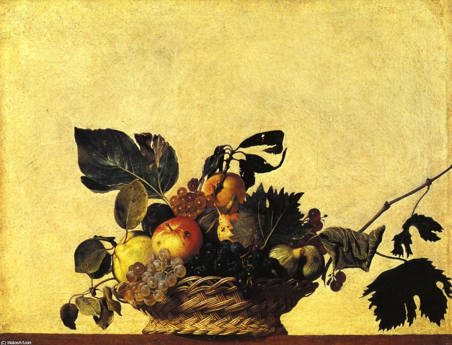 Buy Museum Art Reproductions | Still Life with a Basket of Fruit by Caravaggio (Michelangelo Merisi) | Most-Famous-Paintings.com