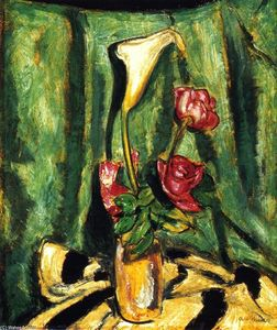 Alfred Henry Maurer - Still LIfe with Calla Lily and Roses