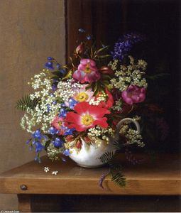 Adelheid Dietrich - Still Life with Dog Roses, Larkspur and Bell Flowers in a White Cup