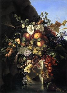 Adelheid Dietrich - Still Life with Grapes, Peaches, Flowers and a Butterfly