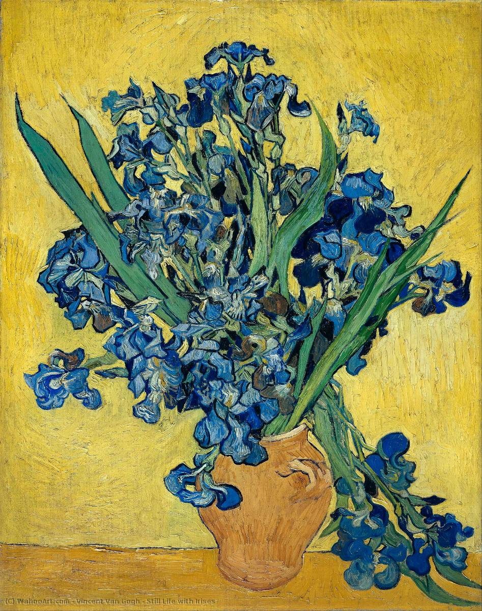 famous painting Still Life with Irises of Vincent Van Gogh