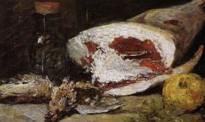 Eugène Louis Boudin - Still Life with a Leg of Lamb