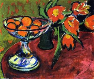 Ernst Ludwig Kirchner - Still LIfe with Oranges and Tulips