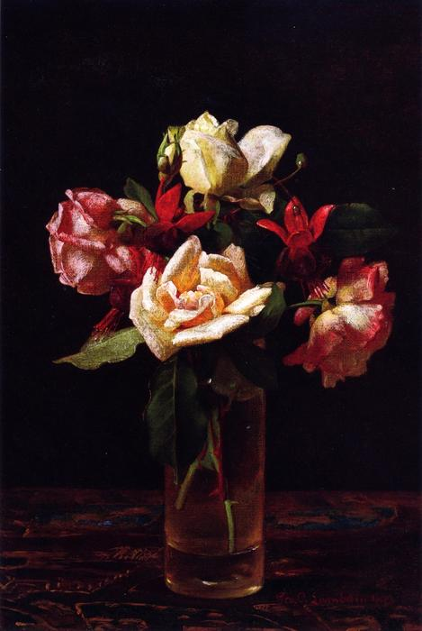 famous painting Still LIfe with Roses and Fuchsia of George Cochran Lambdin