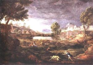 Nicolas Poussin - Strormy Landscape with Pyramus and Thisbe