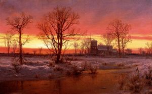 Louis Remy Mignot - Sunset, Winter (also known as Church at Dusk)