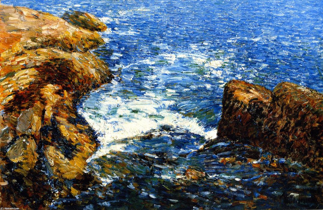 Order Reproductions | Surf and Rocks by Frederick Childe Hassam | Most-Famous-Paintings.com