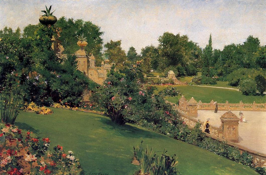 famous painting Terrace at the Mall, Cantral Park of William Merritt Chase