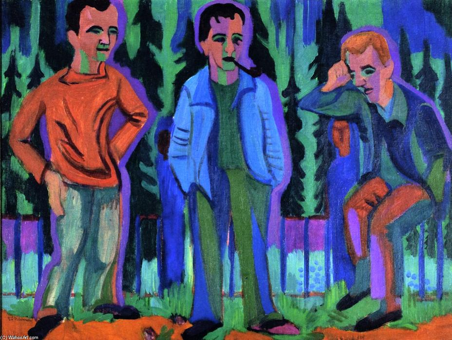 famous painting Three Artists: Hermnn Scherer, Kirchner, Paul Camenisch of Ernst Ludwig Kirchner