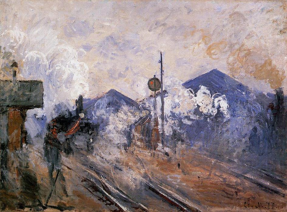 famous painting Track Coming out of Saint-Lazare Station of Claude Monet