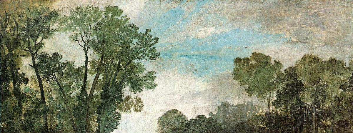 famous painting Tree Tops and Sky, Guildford Castle (?), Evening of William Turner