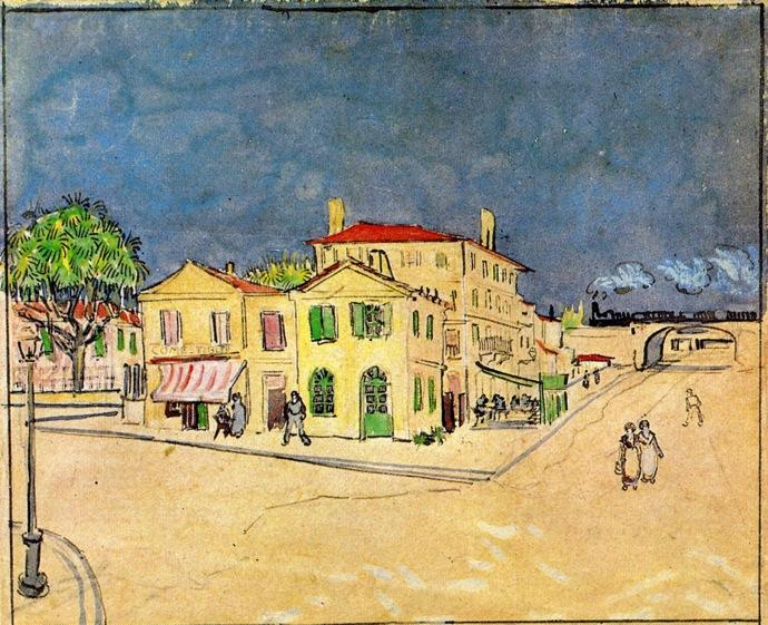 famous painting 'Vincent's House in Arles (also known as The Yellow House)' of Vincent Van Gogh