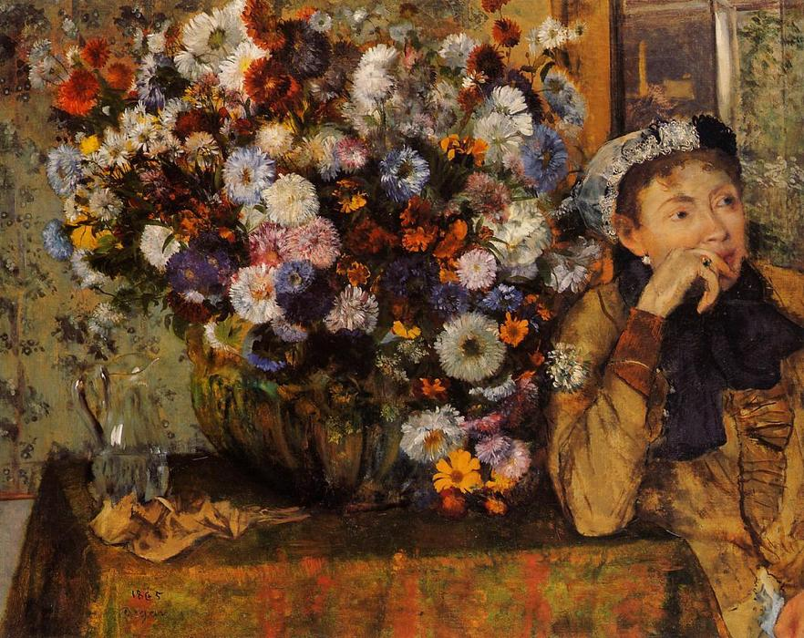 famous painting A Woman Seated beside a Vase of Flowers (also known as sardela) of Edgar Degas