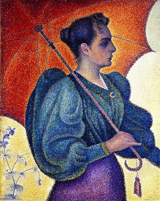 famous painting Woman with Parasol, Opus 243 (also known as Portrait of Berthe Signac) of Paul Signac