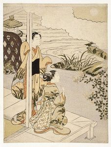 Suzuki Harunobu - Two Girls On The Veranda Looking At The Moon