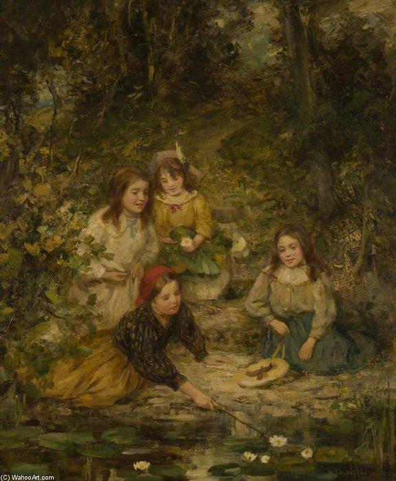 famous painting Four Children By A Lily Pond of William Stewart Macgeorge