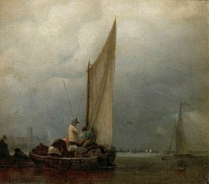 Augustus Wall Callcott - A River Scene With Barges