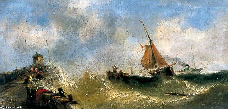 famous painting Fishing Boats Off The French Coast Beating To Windward of Adolphus Knell