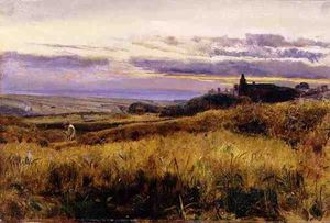 John William Inchbold - Cornfield At Sunset