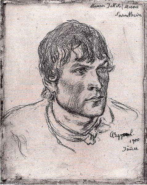 famous painting Head Of A Young Man of Albin Egger Lienz