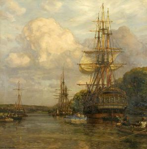 Arthur Wilde Parsons - Privateers Tied Up At Hungroad In The Early Nineteenth Century