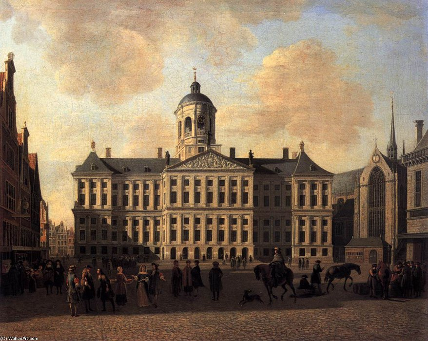 famous painting Dam Square, Amsterdam of Gerrit Adriaenszoon Berckheyde