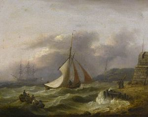 Thomas Luny - Seascape, Shipping Off The Coast In Rough Seas