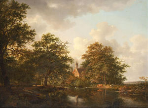 Andreas Schelfhout - Figures And Cows At A Lake In A Wooded Landscape