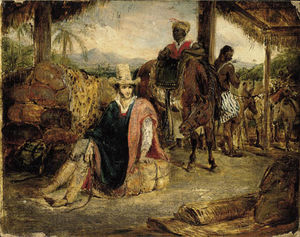 Charles Landseer - Interior Of A Brazilian Rancho In The Province Of Santo Paulo With A Travelling Merchant