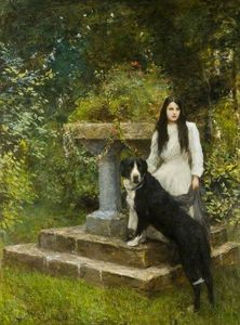 Hubert Von Herkomer - Gwenddydd, And Her Dog In A Garden