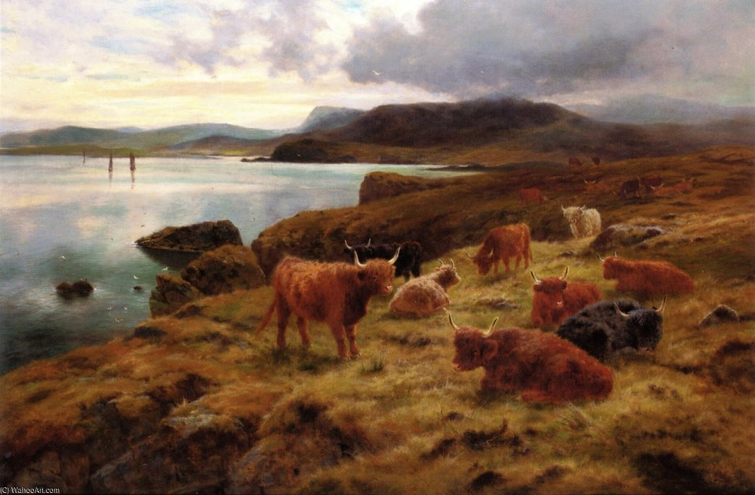 famous painting On The Cliffs At Shetland of Louis Bosworth Hurt