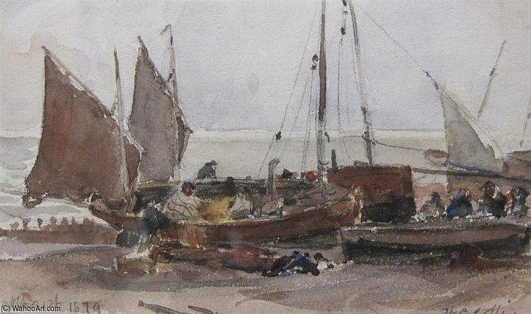famous painting Beached Boats On The Sussex Coast of Thomas Collier