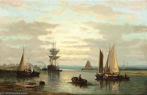 Sailing Vessels In A River by Abraham Hulk Senior