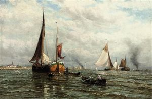 George Stanfield Walters - Barges And Other Shipping At The Mouth Of The River