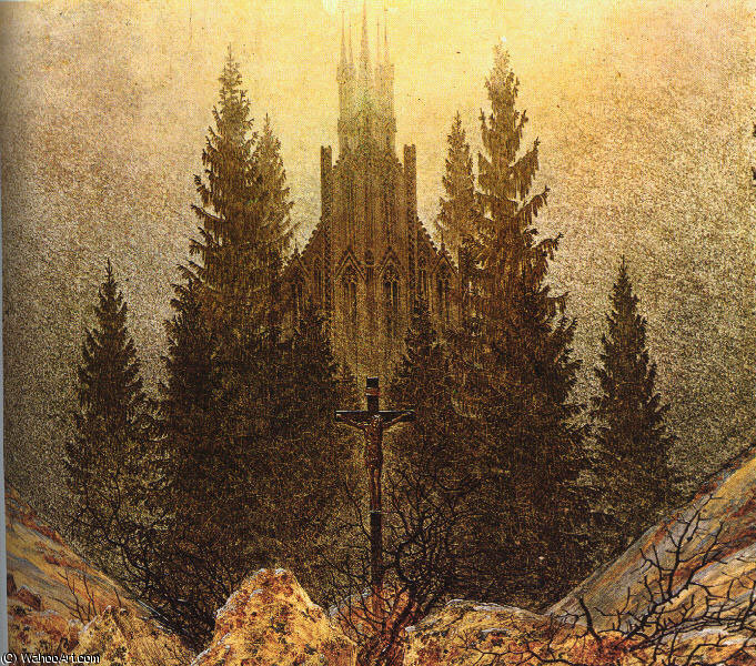 famous painting The Cross on the Mountain Kunstmuseum at Dusseldorf of Caspar David Friedrich