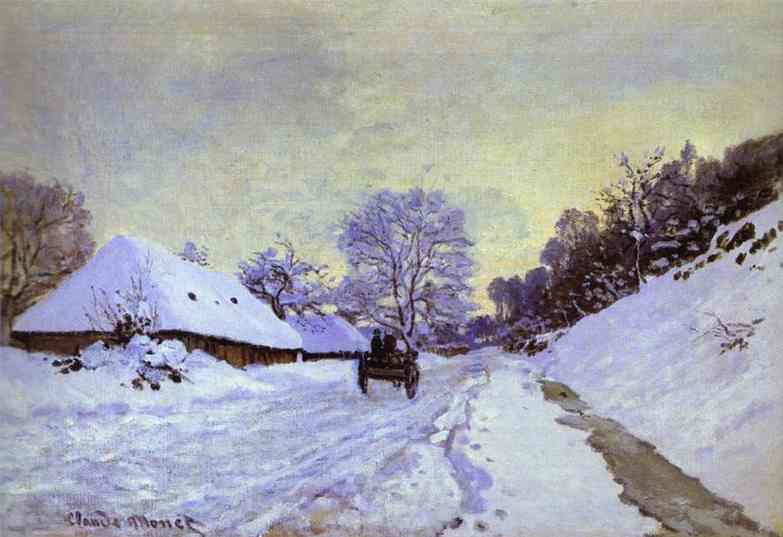 famous painting The Cart; Snow-Covered Road at Honfieur, with Saint-Simeon Farm of Claude Monet