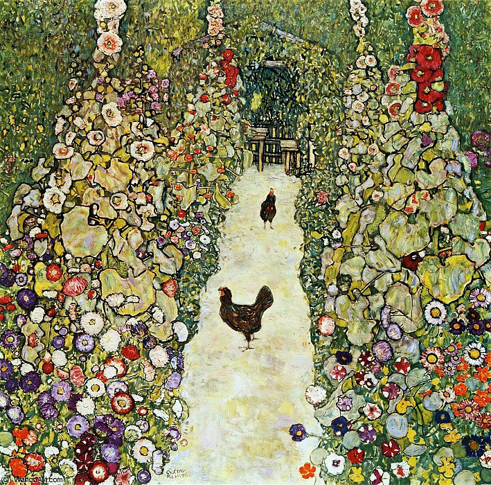Order Paintings Reproductions : Garden Path with Hens by Gustav Klimt | Most-Famous-Paintings.com