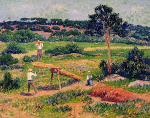 Henri Moret - Bretons Working with Wood