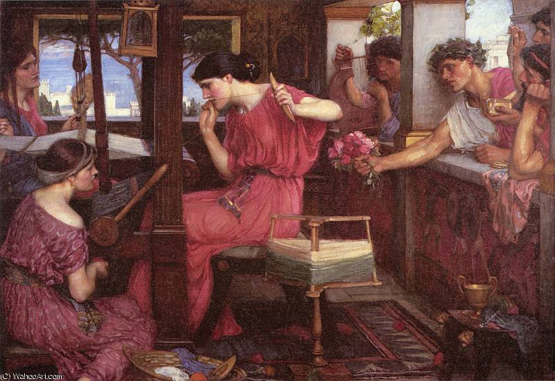 famous painting Penelope and the Suitors of John William Waterhouse