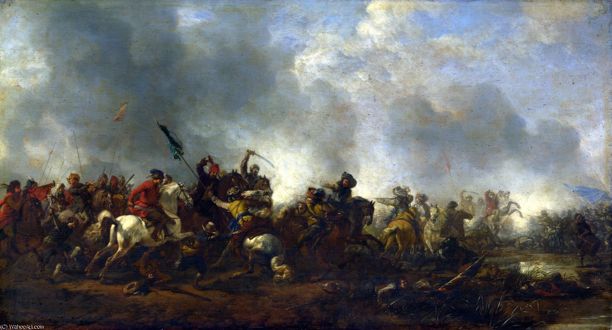 famous painting Cavalry attacking Infantry of Philips Wouwerman