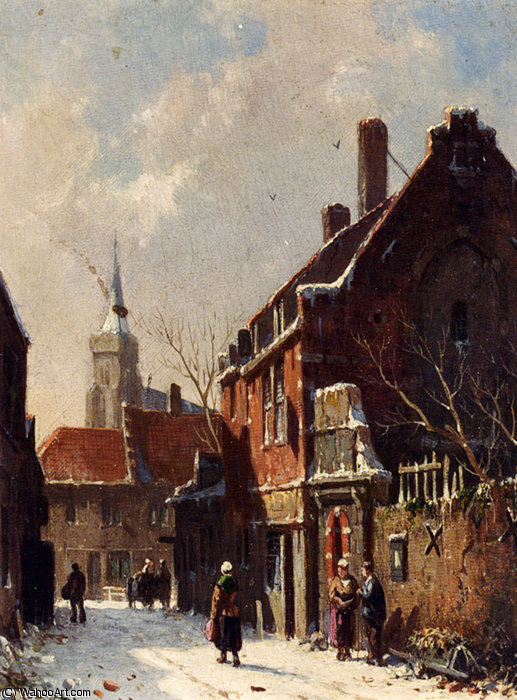 famous painting Figures in the streets of a dutch town in winter of Adrianus Eversen