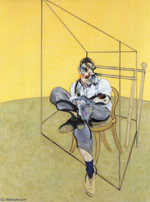 famous painting Three Studies of Lucian Freud, center of Francis Bacon