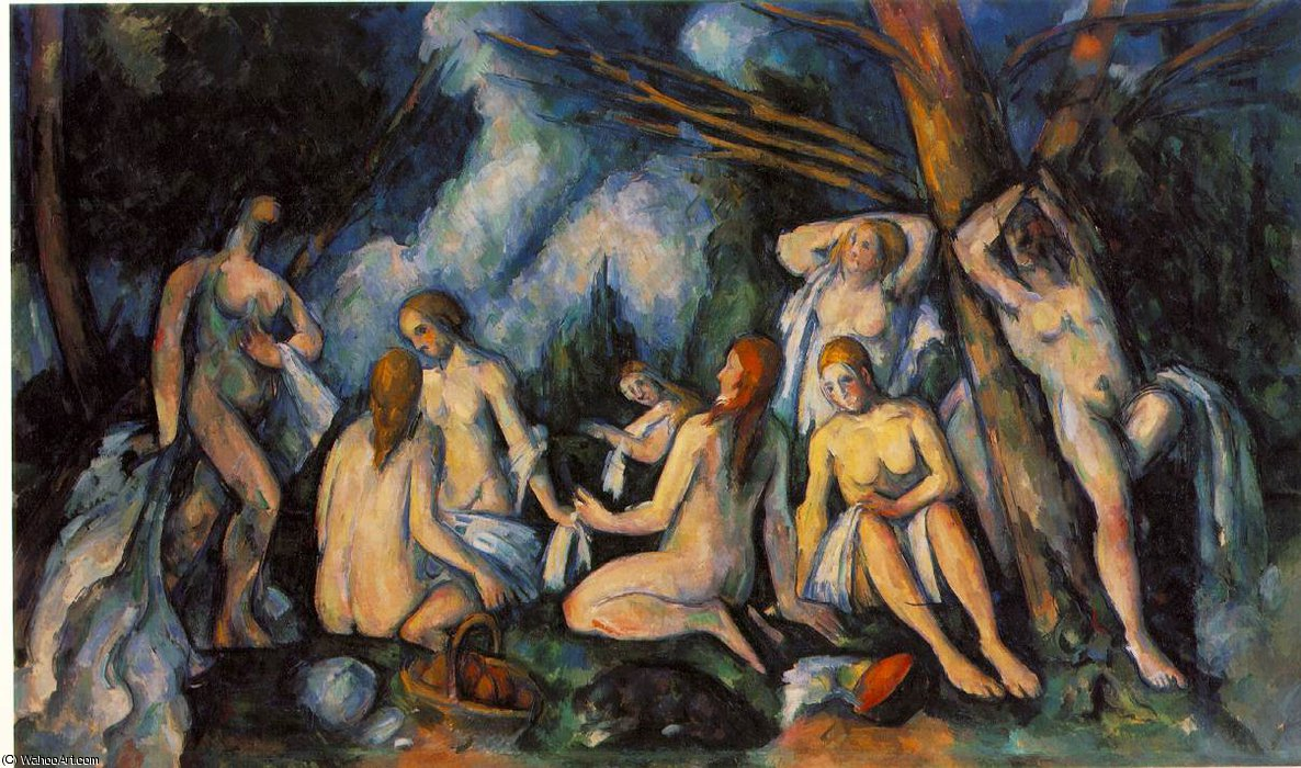 famous painting Les grandes baigneuses,1900-05, barnes foundation of Paul Cezanne
