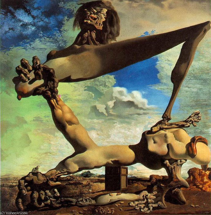 | Dalí soft construction with boiled beans - premonition of civ by Salvador Dali | Most-Famous-Paintings.com