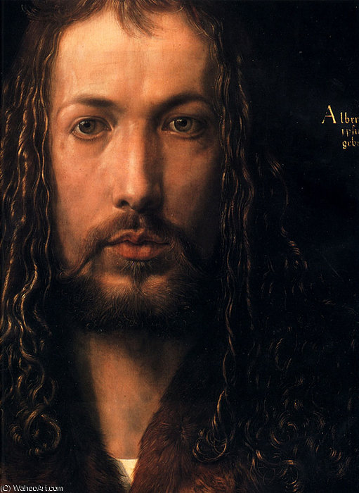 Order Reproductions | Self portrait detail face by Albert Dürer Lucas | Most-Famous-Paintings.com