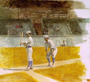 Thomas Eakins - Baseball Players Practicing, watercolor on pape