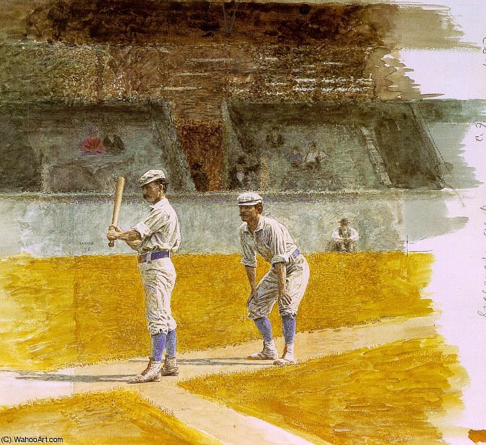 famous painting Baseball Players Practicing, watercolor on pape of Thomas Eakins